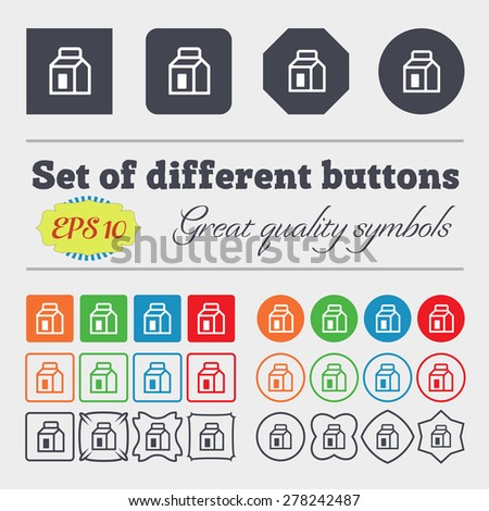 Milk, Juice, Beverages, Carton Package  icon sign Big set of colorful, diverse, high-quality buttons. Vector illustration - stock vector