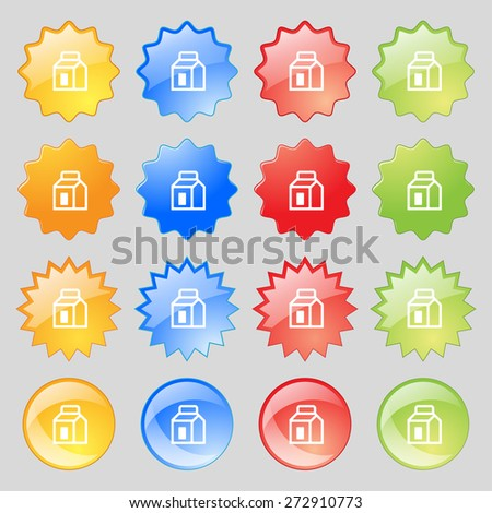 Milk, Juice, Beverages, Carton Package icon sign. Big set of 16 colorful modern buttons for your design. Vector illustration - stock vector