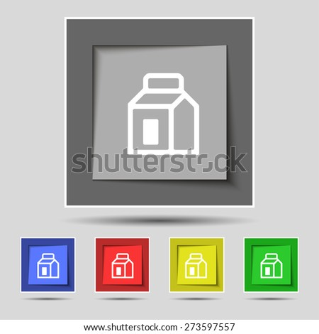 Milk, Juice, Beverages, Carton Package icon sign on the original five colored buttons. Vector illustration - stock vector