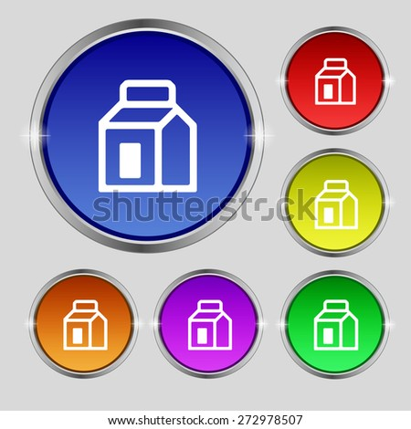 Milk, Juice, Beverages, Carton Package icon sign. Round symbol on bright colourful buttons. Vector illustration - stock vector