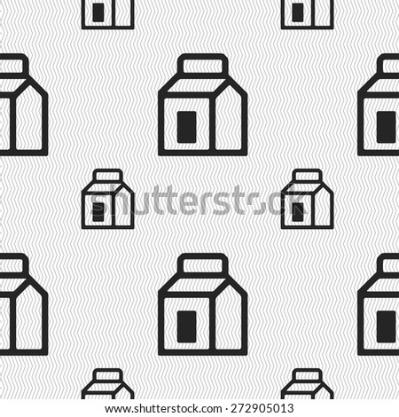 Milk, Juice, Beverages, Carton Package icon sign. Seamless pattern with geometric texture. Vector illustration - stock vector