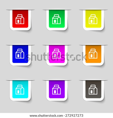 Milk, Juice, Beverages, Carton Package icon sign. Set of multicolored modern labels for your design. Vector illustration - stock vector