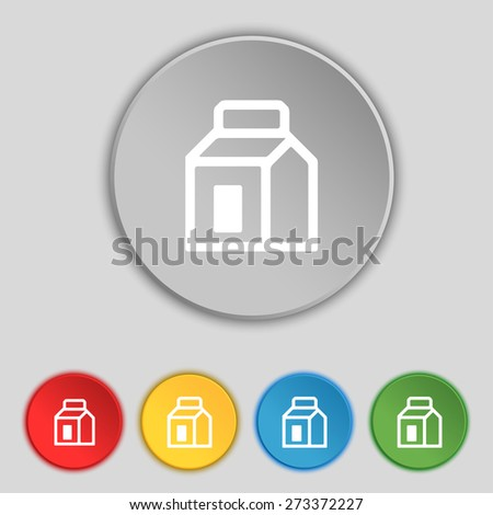 Milk, Juice, Beverages, Carton Package icon sign. Symbol on five flat buttons. Vector illustration - stock vector