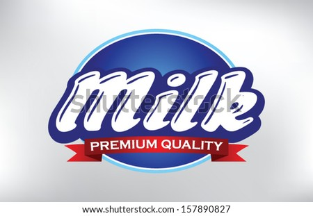 Milk label lettering, vector illustration - stock vector
