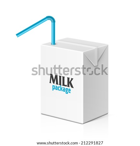 Milk or juice box with drinking straw. Vector. - stock vector