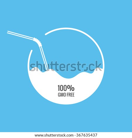 Milk or juice package with drinking straw template. Vector illustration - stock vector