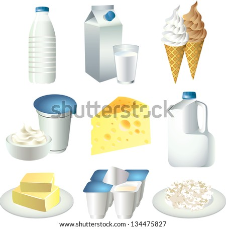 milk products photo-realistic vector set - stock vector