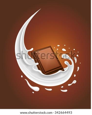 milk splash with chocolate - stock vector