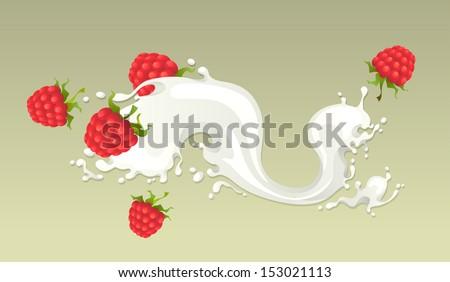 Milk splash with raspberries on light background. - stock vector