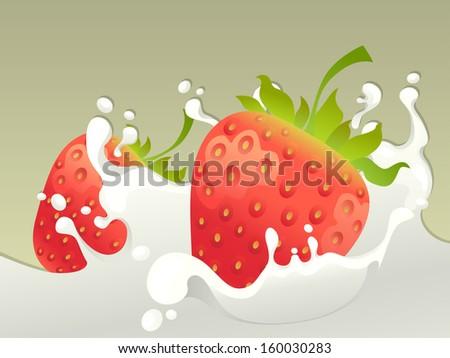 Milk splash with strawberry on light background. - stock vector