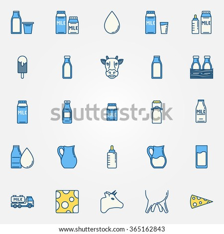 Milk vector icons - colorful symbols of milk package, cow, cheese - stock vector