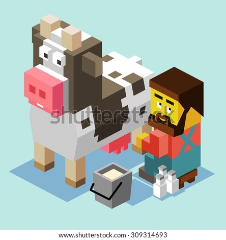 Milking a cow. isometric art - stock vector