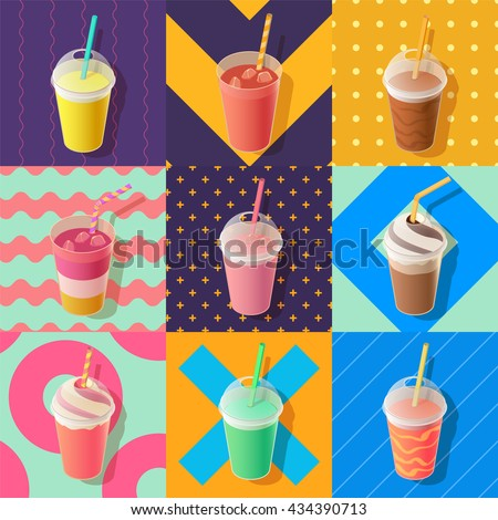 milkshake or smoothie take away cups, isometric vector illustration - stock vector