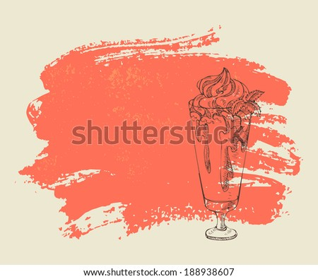 Milkshake with strawberry syrup on red grunge background. - stock vector