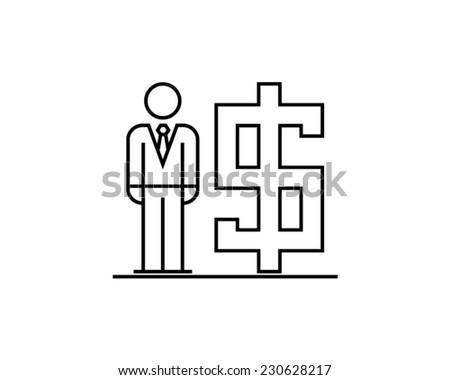 millionaire investor capital fortune prosperity treasure growth businessman pictogram vector icon - stock vector