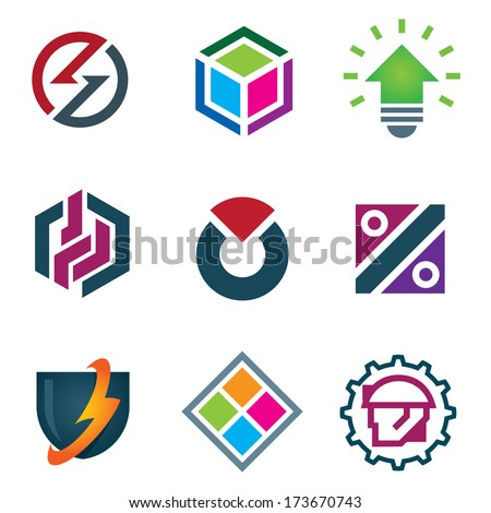 Mind bending attractive android mobile application logo business design modern solution icon set - stock vector