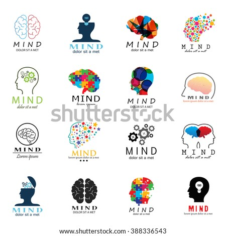Mind Icons Set - Isolated On White Background - Vector Illustration, Graphic Design. For Web, Websites, Print, Presentation Templates, Mobile Applications And Promotional Materials - stock vector