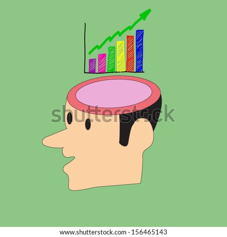 Mind share person has a head for business as a financial pie chart - stock vector