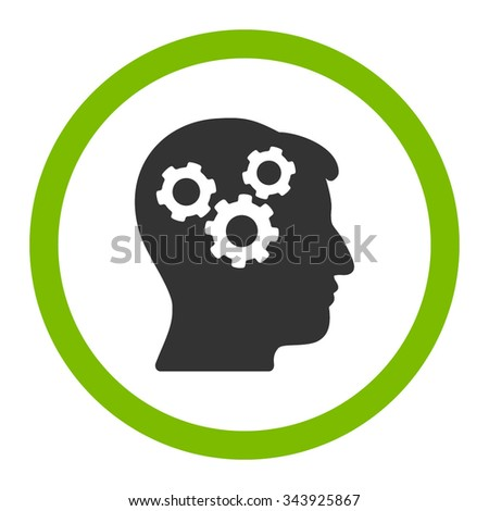 Mind vector icon. Style is bicolor flat rounded symbol, eco green and gray colors, rounded angles, white background. - stock vector