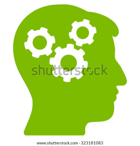 Mind vector icon. Style is flat symbol, eco green color, rounded angles, white background. - stock vector