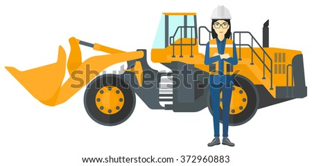 Miner with mining equipment on background. - stock vector