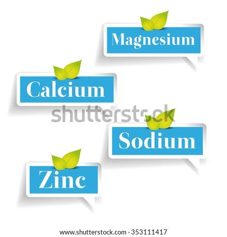 Minerals Magnesium, Calcium, Sodium, Zinc label - stock vector