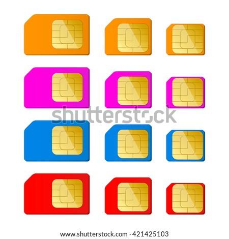 Mini, micro, nano sim card in red, blue, pink, orange color. Vector illustration. EPS 10. - stock vector