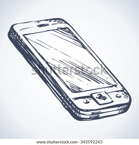 Mini pc touchphone with blank display show app an sign sms ui picture. Outline freehand black on white ink hand drawing icon sketch in art doodle style pen on paper. View closeup with space for text - stock vector