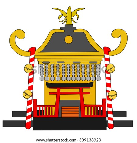 Miniature shrine to use for a festival of Japan - stock vector