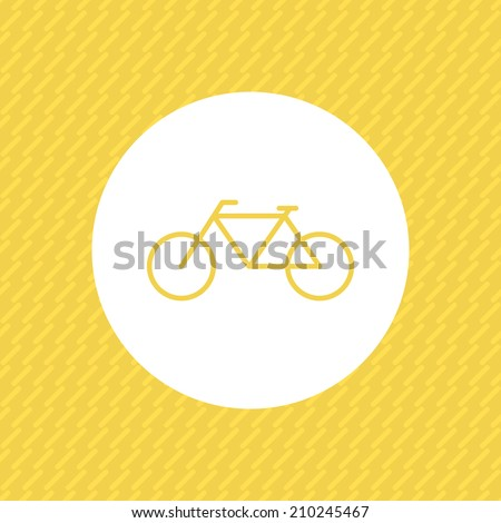 Minimal bicycle icon, with yellow seamless pattern. Simple bike, on white circle. Abstract endless backdrop. Use for card, poster, brochure, banner, web. Easy to edit. Vector illustration - EPS10. - stock vector
