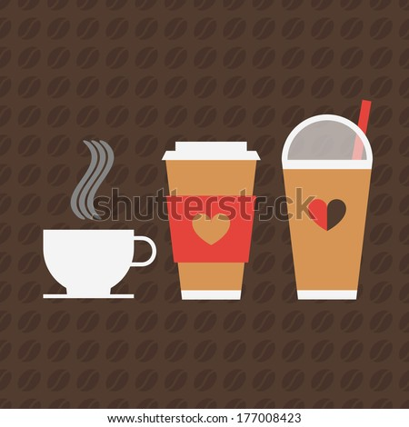 Minimal coffee icons and beans pattern - stock vector