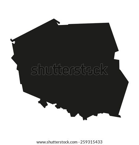 Minimal concept of the geographical map of Poland - stock vector