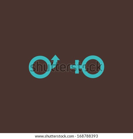 Minimal conceptual male and female symbols - stock vector