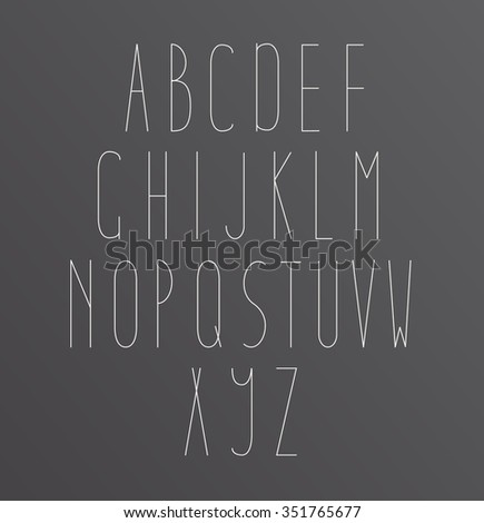 Minimal Font Symbol Icon Alphabet A through Z.  Light font, vector alphabet letters design.  - stock vector