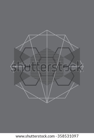 minimal geometric graphic background, abstract shape vector illustration - stock vector