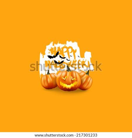 Minimal Halloween Poster. Scary Jack O Lantern halloween pumpkin with candle light inside,  - stock vector