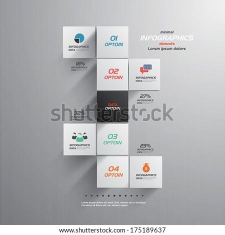 Minimal infographics- cube design. Vector - stock vector