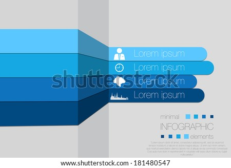 Minimal infographics design-blue stripes - stock vector