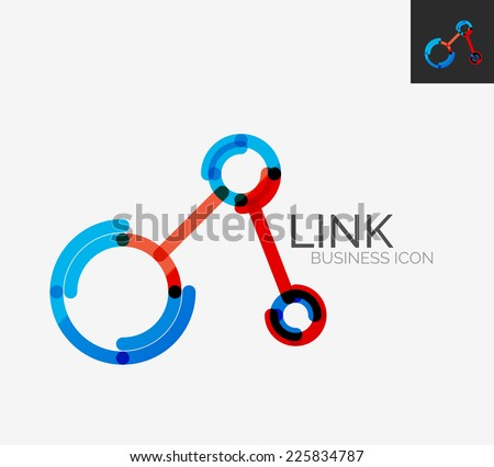 Minimal line design logo, business connection icon, branding emblem - stock vector