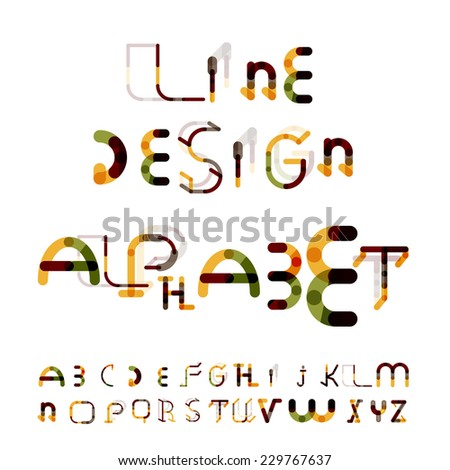 Minimal line segments design alphabet, font, typeface isolated on white. - stock vector