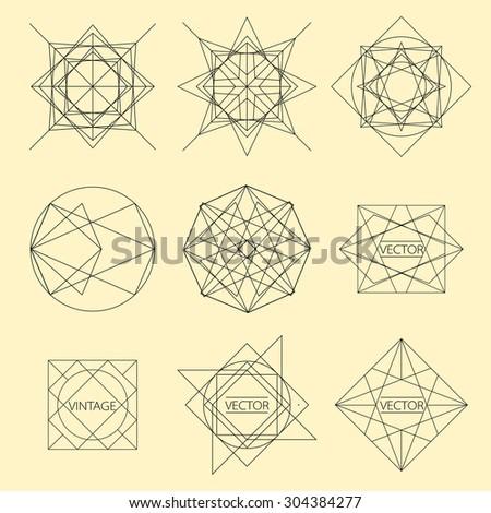 minimal monochrome geometric vintage label - stock vector