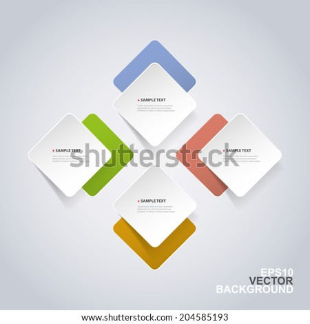 Minimal Paper Cut Infographics Design - Rounded Squares - stock vector