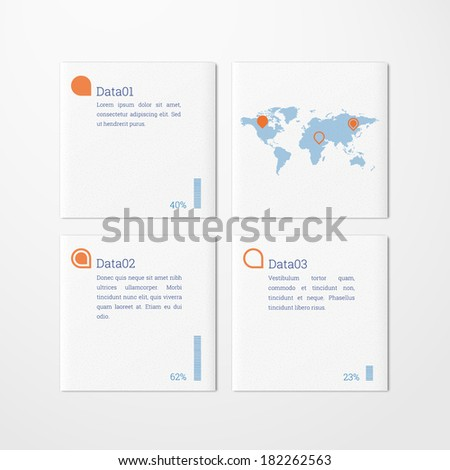 Minimal scalable tile design infographics with map and pins for report, presentation, statistics - orange, blue version - stock vector