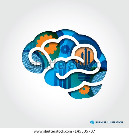 Minimal style Brain Icon Illustration with Creative Business Concept - stock vector
