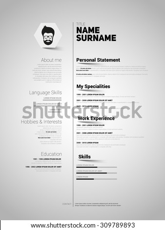 Minimalist CV, resume template with simple design, vector - stock vector