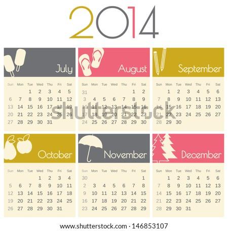 Minimalist design for a 2014 calendar (July to December). - stock vector