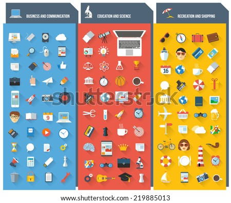 Minimalist flat ui long shadow vector design element and icon set.  - stock vector