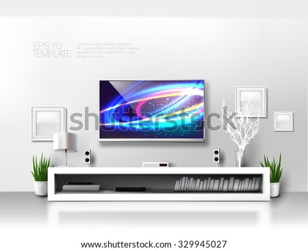 Minimalist modern  white TV shelf with books , decorations and sound system. Rich vector graphic template. - stock vector