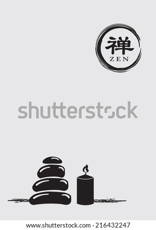 Minimalist vector illustration of a stack of pebbles beside a lit candle and a circle zen symbol. Chinese character means Zen. - stock vector