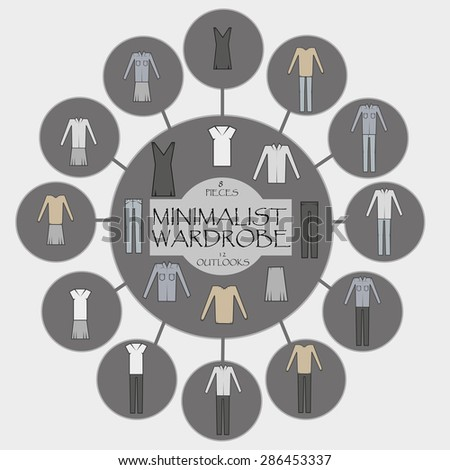 Minimalist wardrobe vector info graphic. 8 pieces and 12 outlooks. - stock vector